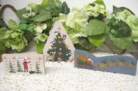 CAT'S MEOW CHRISTMAS SANTA CLAUS IN SLEIGH WOODLAND TREE ETC SET / 3 FALINE 1994