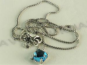 "David Yurman Chatelaine Pendant Necklace with Blue Topaz and Diamonds, 16-17"""