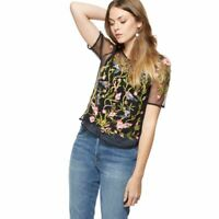 Nine by Savannah Miller Black bird embroidered top without a camisole     (SS19)