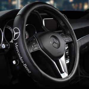 """15"""" Car Steering Wheel Cover Genuine Leather For Mercedes-Benz Black"""