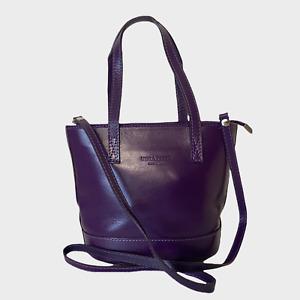 VERA PELLE Ladies Womens Bag Purple Leather Tote Shoulder Bucket Grab Handbag