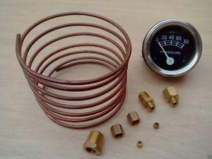 """Ford Tractor Oil Pressure Gauge + Copper Line Kit - 6 ' 1/8"""" line"""