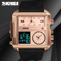 SKMEI Fashion Men's Wristwatch Casual 3 Time Leather Strap Quartz Watch 1391 CC