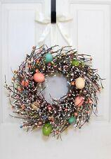 Easter Egg & Berry Wreath - Spring Candle Ring - Condo Door Decor  FREE SHIPPING