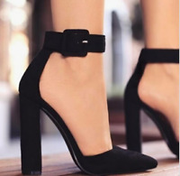 Women High Heels Ankle Buckle Pointed Toe Sandals Block Party Summer Solid Shoes