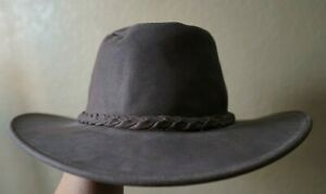 The Fold Up Hat by Minnetonka L brown leather outback hat
