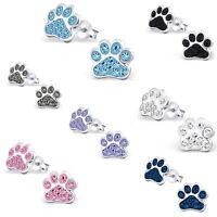 Girls Ladies 925 Sterling Silver Crystal Paw Print Earrings Dog Stud UK (31J)