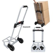 Aluminum Base Portable Cart Folding Dolly Push Truck Hand Collapsible Silver