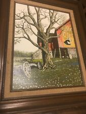 H. Hargrove Oil Painting Barn Advertisement Old Dutch Cleanser
