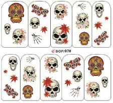 Nail Art Sticker Water Decals Transfers Halloween Sugar Skulls (BOP076)