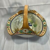 Vintage Lusterware Glass Fruit Basket Japan Hand Painted