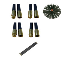 CHIMNEY FLUE CLEANING RODS x 8 & BRUSH SWEEP SWEEPING SET KIT