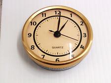 """Brand New Round 2 1/2"""" Pop -In (Fit Up) Gold/Beige Quartz Clock Movement 15716"""