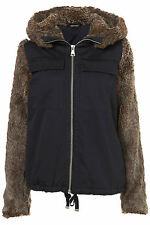 New lovely TOPSHOP fur sleeve parka UK 6 in Navy Blue