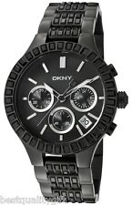 DKNY BLACK TONE GEM STONE,PAVE CRYSTAL COVERED+SILVER CHRONO+DATE WATCH NY8316