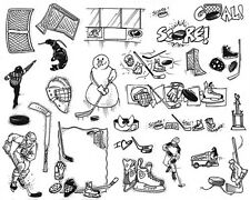 Unmounted Rubber Stamps Sheets, Sports Stamps, Ice Hockey, Border, Stick, Quotes