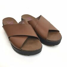 Blowfish Womens Leather Slide Sandal Brown  Size 9