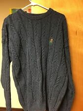 VINTAGE Chaps RALPH LAUREN Sweater Cable Knit Blue EUC Men's XL Made in USA
