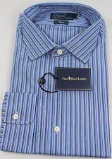 Ralph Lauren Polo Regent Fit Dress Shirt Mens 17.5 44 Blue White Stripe