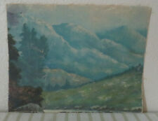 VERY OLD OIL ON CANVAS PAINTING OF MOUNTAINS AND VALLEY