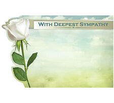 """50ct. ROSE """"With Deepest Sympathy"""" Blank Florist Enclosure Cards Small Tags"""