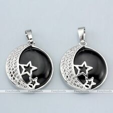 1pc Silver Plated Star Moon Starry Wrap Black Agate Bead Pendant fit Necklace