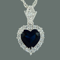 CZ Ocean Love Heart 18K White Gold Plated Blue Sapphire Pendant Necklace Chain