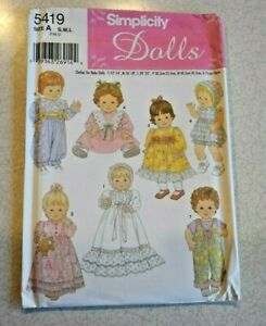 """Simplicity #5419 Uncut Baby Doll Clothes Pattern 12-14"""" 16-18"""" 20-22"""" Christen"""
