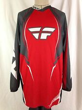 F16 Fly Racing Mens Motocross Shirt XL Size Long Sleeve MX Red Gray White Jersey