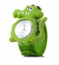 Quality Green Dinasour Wristwatch Boys Girls Kids Wrist Watch Easy Slap Strap