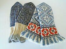 Nice Vintage Folk Gloves Handmade set Knitted size S /M Fringe end Beautiful!