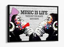 BANKSY DJ MONKEY MUSIC IS LIFE -FLOAT EFFECT CANVAS WALL ART PIC PRINT- PINK RED