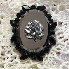 Vintage Black Rose Cameo Onyx Glass Pin Pendant Prong Set