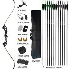 70lbs Archery Recurve Bow Set Takedown Hunting Target 12X Fiberglass Arrow Outdo