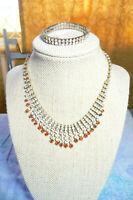 Red Clear Rhinestone Multi-Strand Necklace Bracelet Vintage Jewellery Set