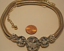 Necklace Gold Large Brilliant Cubic Zirconia on Snake Style Link Chain NWT L737