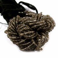 "Smoky Quartz Natural Gemstone Rondelle Faceted Beads Full Strand 13"" 2.75-3 mm"