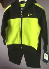 Nike Sweatsuit 12 Months 2 Piece Sweatpants Hoodie Black Yellow 662596-023 NWT