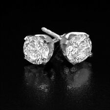 CHRISTMAS GIFT 2 CT DIAMOND STUD EARRINGS ROUND F/SI1 14K WHITE GOLD ENHANCED