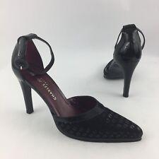 Charles Jourdan Paris Size 9.5 M Black Patent Suede Embossed Logo Heel Sandals
