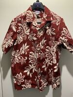 Aloha Line Hawaiian Shirt Sz Large Red Floral Hibiscus Pattern Cotton Aloha EUC