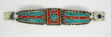 Asian Sterling Silver Bracelet Tibetan  Bangle Turquoise Lapis Coral Ethnic VVC1