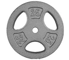 """Two 25 lb (Pair) CAP Cast Iron Standard 1"""" Weight Lifting Plates Total 50 lbs"""