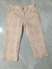 Lee Women's Cropped Capri Pants Jeans Size 16W Classic Fit Stretch Pink Floral