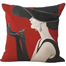 "Home Decor Sofa PILLOW CASE cushion WOMEN FASHION MAGAZINES GLAMOUR LINEN 18x18"""