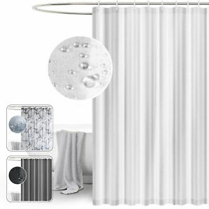 Fabric Shower Curtain Grey White Extra Wide Extra Long Standard With Hooks Ring