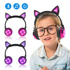 Foldable Cat Ear Bluetooth Headphones Wireless / Wired LED Glowing Music w/Mic