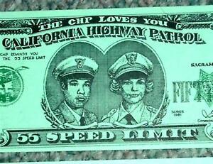 California Highway Patrol CHP 55 Dollar Bill 1981 Speed Limit Original Art Print