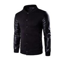 Trendy Mens Slim Fit Stand Collar PU Leather Biker Jacket Baseball Coat Outwear