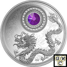 2016 Feb Birthstones Crystalized Proof $5 Silver Coin 1/4oz .9999 Fine (17564)NT